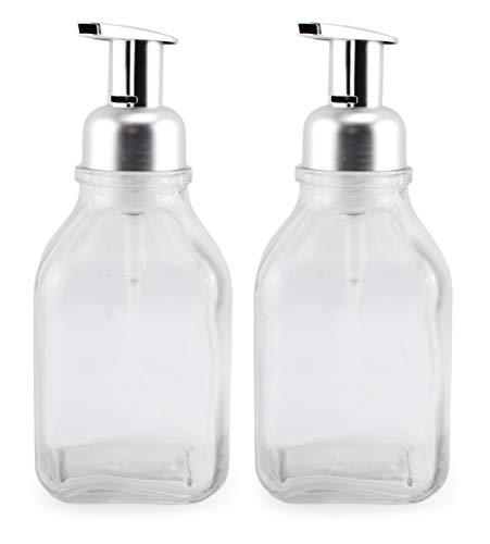 Cornucopia Glass Foaming Soap Dispensers (2-Pack, Clear Bottle w/Silver Color Pump); 16oz Foamer Pump Bottle for Foaming Hand Soap