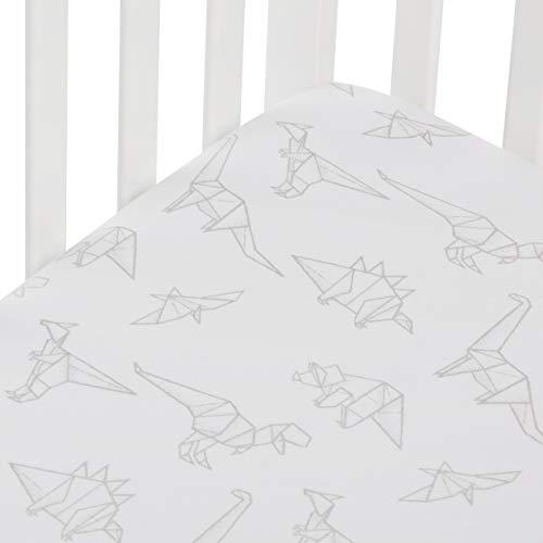 Andi Mae Crib Sheet - Grey Dinosaurs -100% Jersey Cotton - Fits Standard Crib or Toddler Mattresses