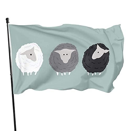 Bandera de jardín de ovejas grises Bandera de interior al aire libre 3 x 5 pies, banderas de playa duraderas resistentes a la decoloración con encabezado, fácil de usar