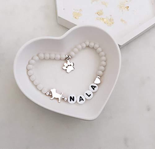 Armband Perlenarmband Silber Hund Herz Buchstaben Buchstabenperlen Name Namensarmband Initiale Pfote Grau Silber elastisch