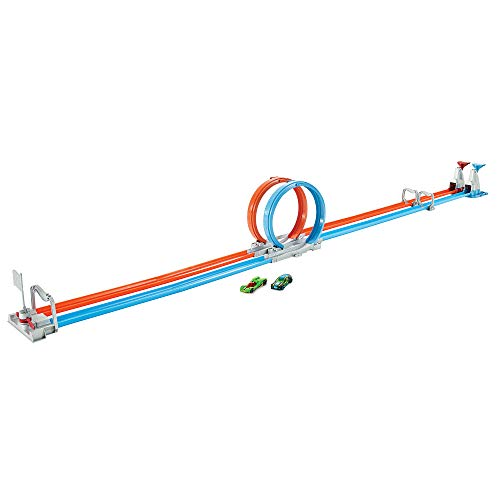 Hot Wheels GFH85 - Action Doppel Looping Track Rennstrecke 3,6 Meter lang inkl. 2 Spielzeugautos, Spielzeug ab 5 Jahren