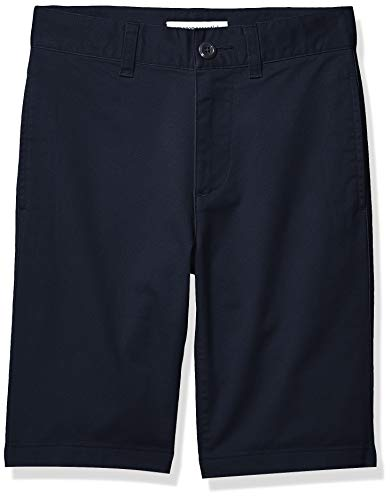 Amazon Essentials Short chino, avant plat, de style uniforme, pour garçons, bleu marine, US 8 (EU 128 CM, S)