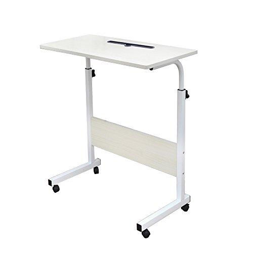 sogesfurniture höhenverstellbar Laptoptisch Computertisch mit Tablet Steckplatz, 60 * 40cm PC Tisch Sofatisch Pflegetisch Beistelltisch mit Rollen, Weiß Ahorn 05#3-60MP-BH