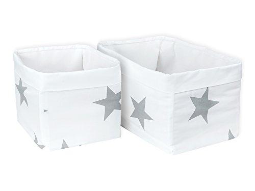 KraftKids Stoff-Körbchen in große graue Sterne auf Weiss, Aufbewahrungskorb für Kinderzimmer, Aufbewahrungsbox fürs Bad, Größe 20 x 33 x 20 cm