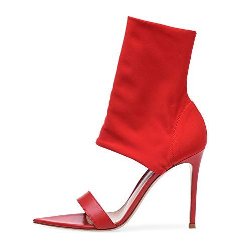 Escarpín Sandalias Stiletto Elegante Dedo Puntiagudo,MWOOOK-651 Mujer Tacones de Aguja Alta Sexy Zapatos de Vestir,Red,40