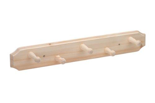 Metafranc hakenlijst, 600 mm, sparrenhout, aantrekkelijke houtlook, 5 haken, voor wandmontage, ideaal voor hal of kinderkamer, kapstok, wandkapstok, wandkapstok, kledinghaak, 260489