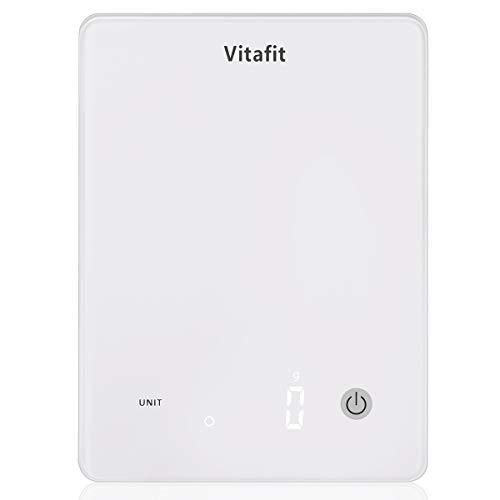 Vitafit Bilance da Cucina Digitale,Grande Capacità 10 kg/Alta Precisione 1g,Bilancia Pesa Alimenti con Piattaforma in Vetro Temperato e Display a LED, Design Ultra Sottile, Bianco Elegante
