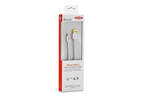 ednet iPhone® Lightning USB Datenkabel/Ladekabel, 3m, MFI zertifiziert, doppelt geschirmt, weiß
