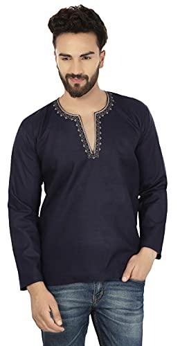 Embroidered Cotton Men's Short Kurta India Fashion Clothing (Dark Blue, M)