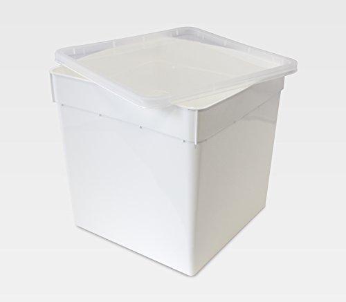 BraPlast Dose 5,8 Liter 18,5 x 18,5 x 19,0 cm - weiß mit transparentem Deckel/Kunststoff Stapelbox