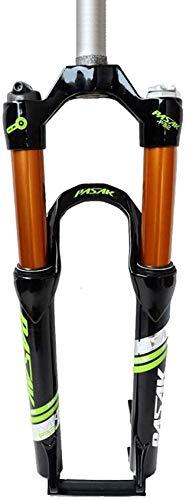 ZHTY Horquilla de suspensión para Bicicleta de Aire MTB 26 27,5 29 Pulgadas Tubo Recto 1-1/8'Freno de Disco QR 9 mm Viaje 100 mm Bloqueo Manual Horquilla de suspensión para Bicicleta