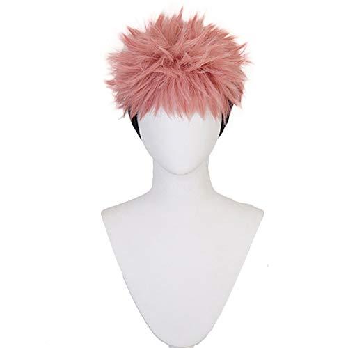 2020 Anime Jujutsu Kaisen Sorcery Fight Yuji Itadori Cosplay Wig Pink Mixed Black Short Curly Party Hair Halloween Accessory Men Boys