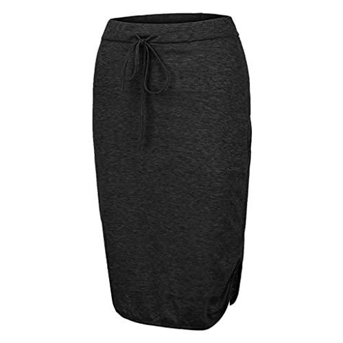 BAOFUBA Skirt Women's High Waist Mini Skirt,Solid Basic Versatile Stretchy Casual Flared Mini Skirt,Pencil Skirt Business Casual Bodycon Stretch Skirt A-Linie Lang All-Match Skirt