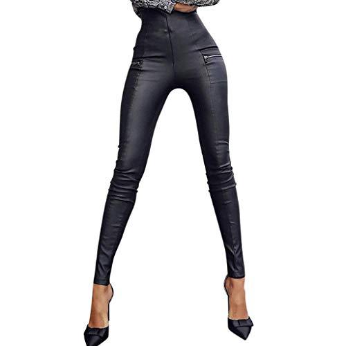 Ansenesna Damen Hose Lederoptik Matt Leder Skinny Stretch Elegant Jeggings Frauen Elastischer Bund Gummizug Hosen Lang Eng Lederhose Gummibund Schmales Bein Damenhose