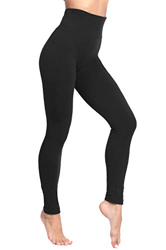 LUOYANXI High Waist Tummy Control Leggings for Women Winter Warm Fleece Lined Seamless Thick Pants Black