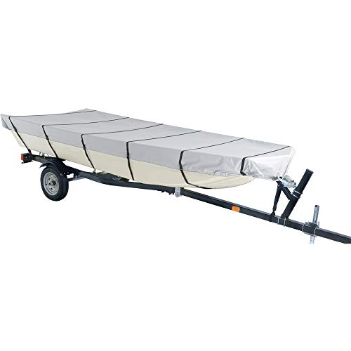 iCOVER 12ft Jon Boat Cover- Water Proof Heavy Duty TrailerableJon Boat Cover,Fits Jon Boat 12ft Long&Beam Width up to 56in, Grey Color, JB6302A