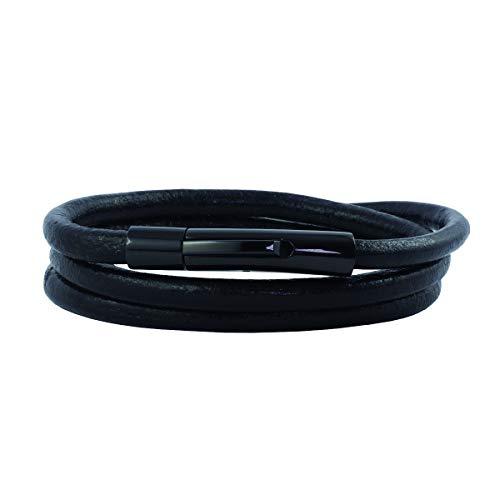 König Design Lederkette Lederband Leder-Armband 4 mm Herren Halskette Schwarz 50 cm lang mit Hebeldruck Verschluss Schwarz Rund