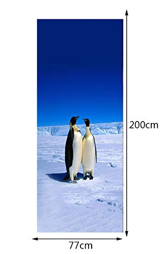 Etiqueta De La Puerta Papel Tapiz 3D Polo Norte Pingüinos Puerta Pegatinas De Pared Dormitorio Decoración Del Hogar Poster Pvc Etiqueta De La Puerta A Prueba De Agua 77X200 Cm