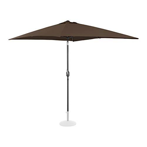 Uniprodo Ombrellone da Esterno Grande Ombrello da Giardino Uni_Umbrella_TSQ2030BR (Marrone, Rettangolare, Inclinabile, 200 x 300 cm)