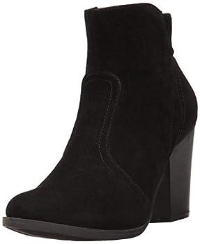 Breckelles Women s HEATHER-34 Faux Suede Chunky Heel Ankle Booties Black Suede 5.5 B M  US