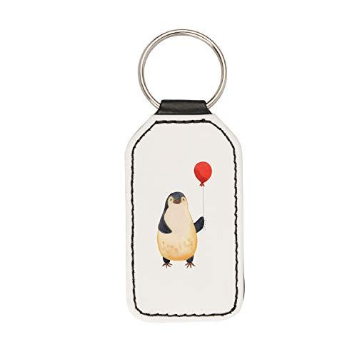 Mr. & Mrs. Panda Schlüsselband, Glücksbringer, Rechteckig Schlüsselanhänger Pinguin Luftballon - Farbe Weiß