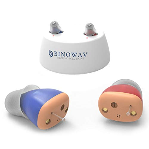 BINOWAV Rechargeable Hearing Amplifier to Aid and Assist Hearing of Seniors Adults, Invisible in Ear Nano Mini CIC Digital Amplifiers, Small & Light Weight (Red Right, Blue Left)