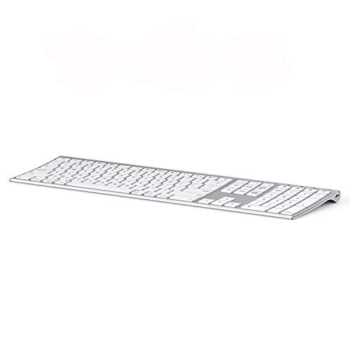 Multi-Device Keyboard for Mac OS/iOS/iPad OS, Jelly Comb Bluetooth Keyboard for MacBook Pro/Air, iMac, iPhone, iPad Pro/Air/Mini, New iPad| Connect Up to 3 Devices (White and Silver)