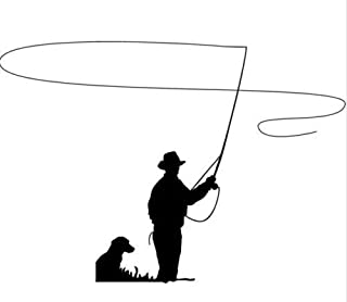 Fly Fishing Decal Car Truck Bumper Window Sticker Dog country cowboy hunting, Die cut vinyl decal for windows, cars, truck...