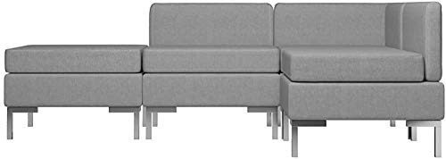 Sofá set 4 sofá cama, silla de esquina de tela, dark gray