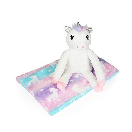 Love 2 Design Unicorn Pillow and Fleece Throw Blanket Cuddle Critter Figural