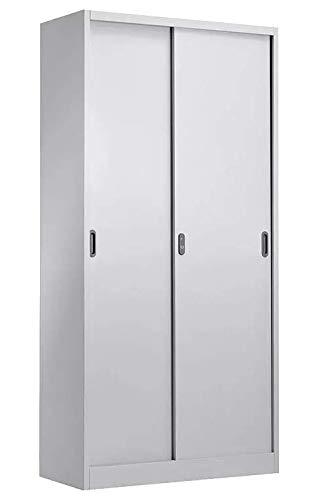 Grupo SDM Armario Olivette, metálico Puertas correderas, Gris Claro, 90x40x185 cms