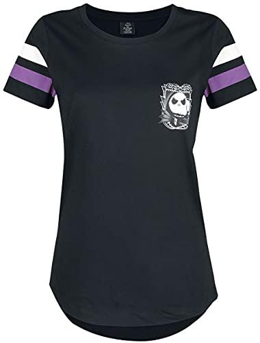 The Nightmare Before Christmas Pesadilla Antes De Navidad Jack Skellington - 93 Mujer Camiseta Negro S, 100% algodón, Vokuhila Regular