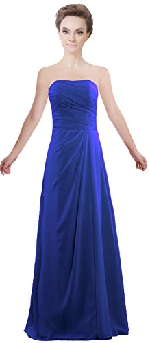 ANTS Women's Strapless Long Bridesmaid Dresses Chiffon Wedding Evening Gown Size 4 US Royal Blue