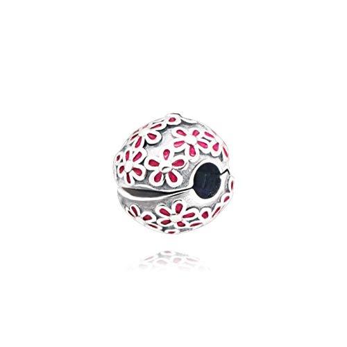 Pandora 925 plata esterlina colgante DIY cuentas cubiertas con flores encanto ajuste original pulseras joyería de moda