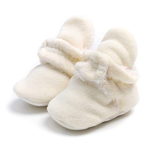 TMEOG Unisex-Baby Neugeborenes Fleece Booties Bio Baumwoll-Futter und rutschfeste Greifer Winterschuhe (0-6 Monate, A_Weiß)