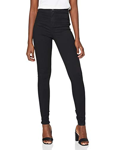 NAME IT Nmella Super HW Jeans Gu304 Noos Vaqueros Slim, Negro (Black), W40/L32 (Talla del Fabricante: Large) para Mujer