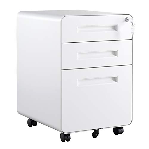 GREATMEET 3-Drawer Mobile File Cabinet with Anti-tilt System,Metal Rolling File Cabinet for Legal/Letter Size,Fully Assembled,White