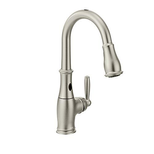 Moen 7185ESRS Brantford Motionsense Two-Sensor Touchless One-Handle High Arc Pulldown Kitchen Faucet Featuring Reflex