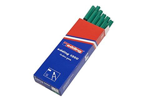 edding 1300-004 - Rotulador con punta de fibra, 10 unidades, color verde