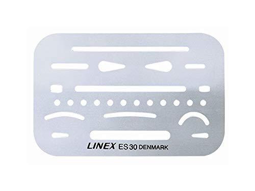 Linex 100411019 Set gumsjablonen ES 30 van het fijnste roestvrij staal met 26 openingen voor nauwkeurig corrigeren