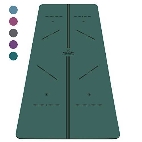 Heathyoga ProGrip Non Slip Yoga Mat with Alignment Lines,...