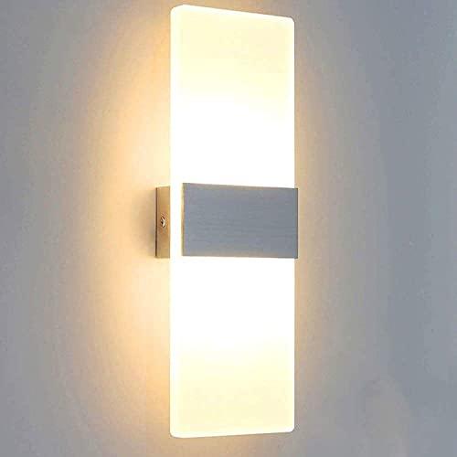 Lightess Wandleuchte LED Innen Modern Weiss Wandlampe Treppenhaus Up and Down Innenleuchten Flurlampe für Wohnzimmer Korridor Schlafzimmer, Warmweiß