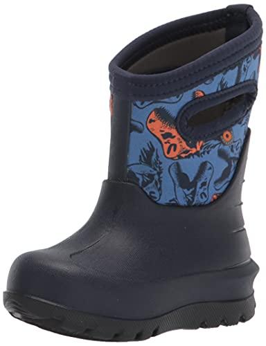 Bogs Neo Classic Rain Boot, Cool Dinos Print-Navy, 13 US Unisex Little Kid