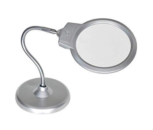 HYLHY Großer Lupenständer, 2X 5X Desktop-Lupe mit 2 LED-Jumbo-Objektiv, Freihandvergrößerung mit Licht für Hobby, Handwerk, Inspektion, Lesen, Modellbau, Löten usw. (rund)