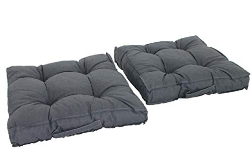 Chicreat Kastenkissen Loungekissen, 2er-Set 50 x 50 cm Dunkelgrau