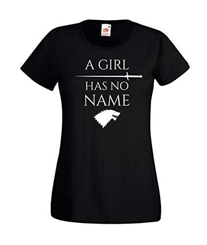 T-Shirt Maglietta Arya Stark Ispirata Game of Thrones A Girl Has No Name Trono di Spade Donna (X-Small, Nero)