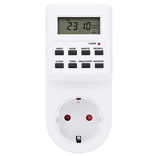LANTRO JS - Temporizador de enchufe TM03, enchufe de la UE 230 V Pantalla digital LCD Interruptor de control de tiempo eléctrico Temporizador de enchufe enchufable