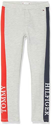 Tommy Hilfiger Mädchen Essential Logo Sport Leggings, Grau (Grey Pz2), (Herstellergröße:92)