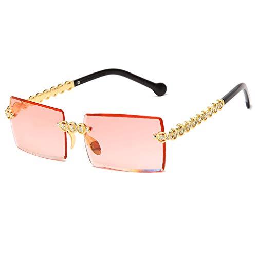 Long Keeper Gafas de sol rectangulares para Mujer Vintage Gafas Sol Cuadradas Sin Montura Retro con Lente Transparente Marco Diamante Cristal (Rojo degradado)