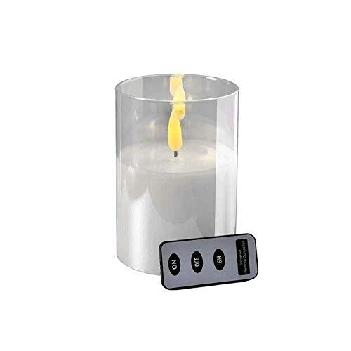 Hochwertige LED Kerze im Glas - mit Fernbedienung & Timer - ⌀ 10 cm - Realistische & Flackernde Flamme - Weihnachten Deko (Weiß, Höhe: 15 cm)